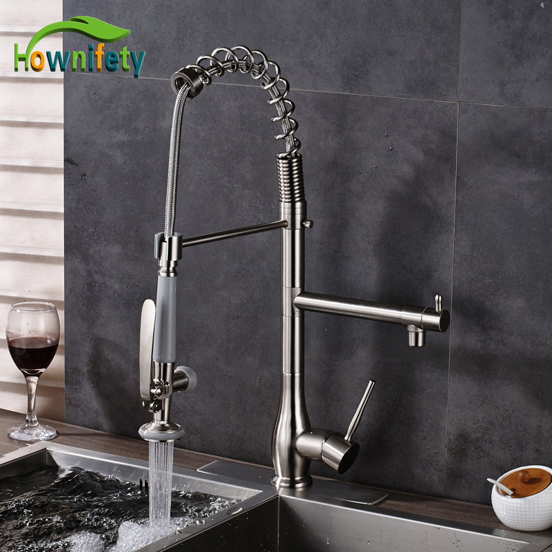 Nickel Brushed Solid Brass Single Handle Kitchen Sink Faucet 2 Ways Water Outlet Mixer Tap with 10 Inch Cover Plate new kitchen sink faucet tap pure water filter mixer dual handles with 6 inch hole cover plate brushed nickle