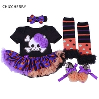 Turuncu Kafatası Cadılar Bayramı Bebek Kıyafetler Kabak Cadılar Bayramı Kostüm Çocuk Için 4 adet Toddler Kız Romper Elbise Bandı Set Bebek Giysileri