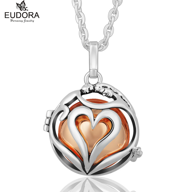Angel Caller Love Each Other Hollow Heart Fashion Copper Harmony Bola Cage Locket Pendant Necklace fit Chime Ball Pregnant Gift