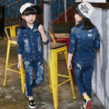 Fancy girls denim blue jean coat and jean pants set trendy tall girl clothing girls autum clothes 2pcs set pattern print