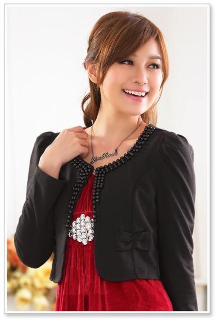 2017 женщины куртки новый Корейский плюс размер длинным рукавом кардиган шаль короткие шаль женская мода Тяжелая бисероплетение sweet