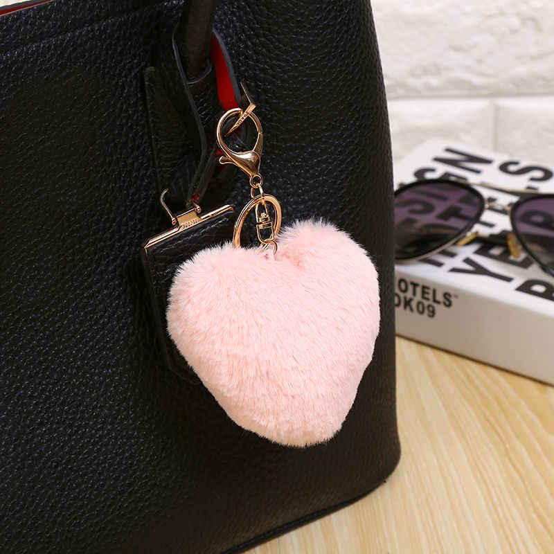 10 см пушистый мех помпон брелок мягкие милые в форме сердца помпон Искусственный Кролик мех шары помпоны автомобиль Сумочка брелок подарок