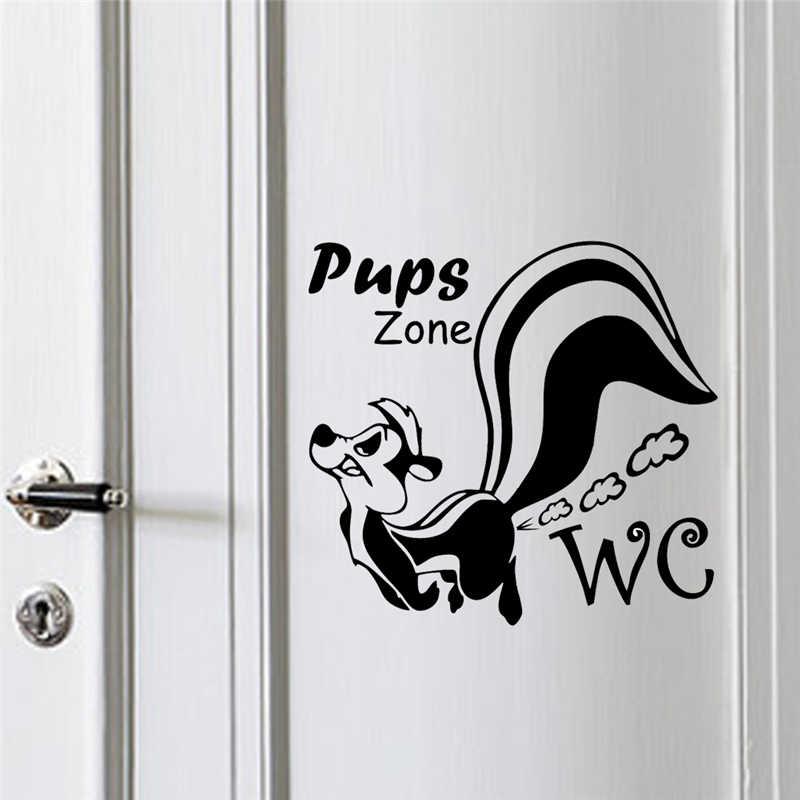 ตลกPupsโซนห้องน้ำสติกเกอร์ตกแต่งผนังสำหรับห้องน้ำตกแต่งDIYไวนิลD Ecalsจิตรกรรมฝาผนังตกแต่งผนังโปสเตอร์ศิลปะ