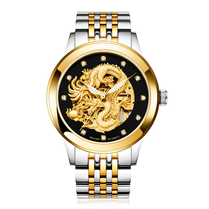 SOLLEN SL602 watches men luxury brand skeleton automatic mechanical chinese dragon emperor king Suborder stegosauria Marsh young emperor chinese edition