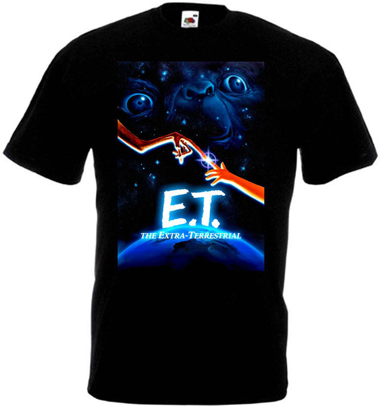E.T. Extra Terrestrial V3 T Shirt Black Navy Blue Movie Poster All Sizes S-3XL Summer T-Shirt Brand Fitness Body Building image