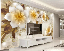 Beibehang Custom wallpaper 3D three-dimensional embossed tea flower European retro TV background walls decoration 3d