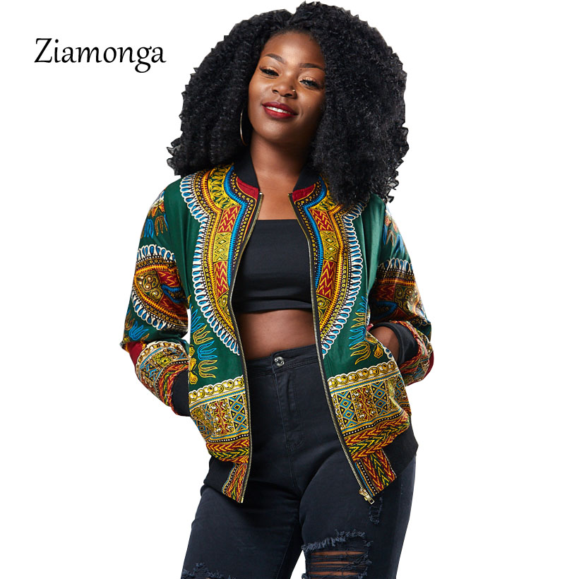 Ziamonga Dashiki Bomber Jacket Women Autumn Outwear African Print Jackets Female Vintage Casual ...