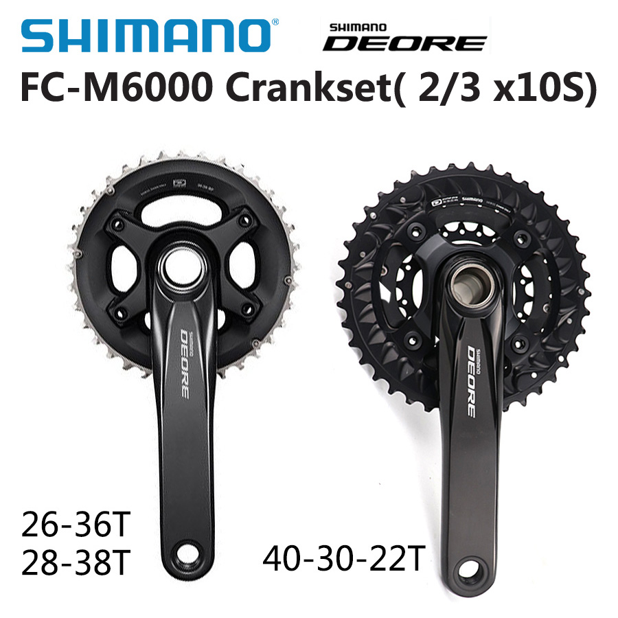Shimano DEORE FC M6000 2x10 3x10 Speed Bike mtb Crankset With BB52 Bottom Bracket 40 30 22T 26 36T 28 38T 170mm Bicycle Parts-in Bicycle Crank & Chainwheel from Sports & Entertainment
