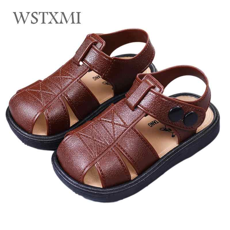 Summer Boys Sandals for Kids Beach Shoes Baby Toddler Sandals Soft Leather Classic Non-slip Children Outdoor Sandals Size 21-30
