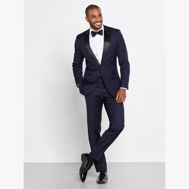 Costume Mariage Homme navy blue <font><b>Men</b></font> <font><b>Suits</b></font> With Pants 2 Pieces Set Slim Fit <font><b>Mens</b></font> <font><b>Wedding</b></font> <font><b>Suit</b></font> <font><b>2018</b></font> Groom man <font><b>terno</b></font> masculino image