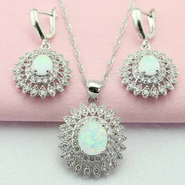 Us 10 61 45 Off Wpaitkys Folwer White Australia Opal Stone Silver Color Jewelry Sets Drop Earrings Pendant Necklace For Women Free Gift Box In