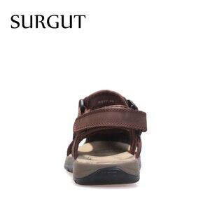 Image 4 - Surgut ブランド通気性のサンダルの本物の革の靴男性のサンダルノンスリップビーチ夏スリッパ男性ビッグサイズ