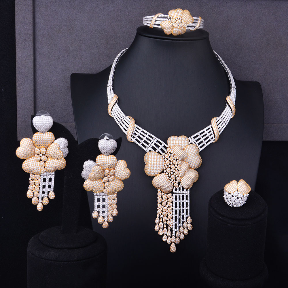 GODKI Super Luxury Floral Flower Women Wedding Cubic Zirconia Choker Necklace Earring Bangle Ring Jewelry Set Jewellery Addict rhinestoned floral wide choker