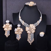 GODKI Super Luxury Floral Flower Women Wedding Cubic Zirconia Choker Necklace Earring Bangle Ring Jewelry Set Jewellery Addict
