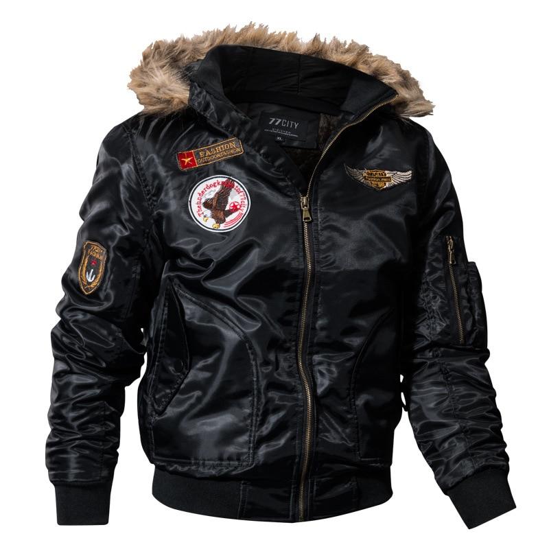 Winter Parkas Men Bomber Jackets Army Military Jacket Men's Pilot Jacket Coats Fur Hoody Cargo Safari Outerwear