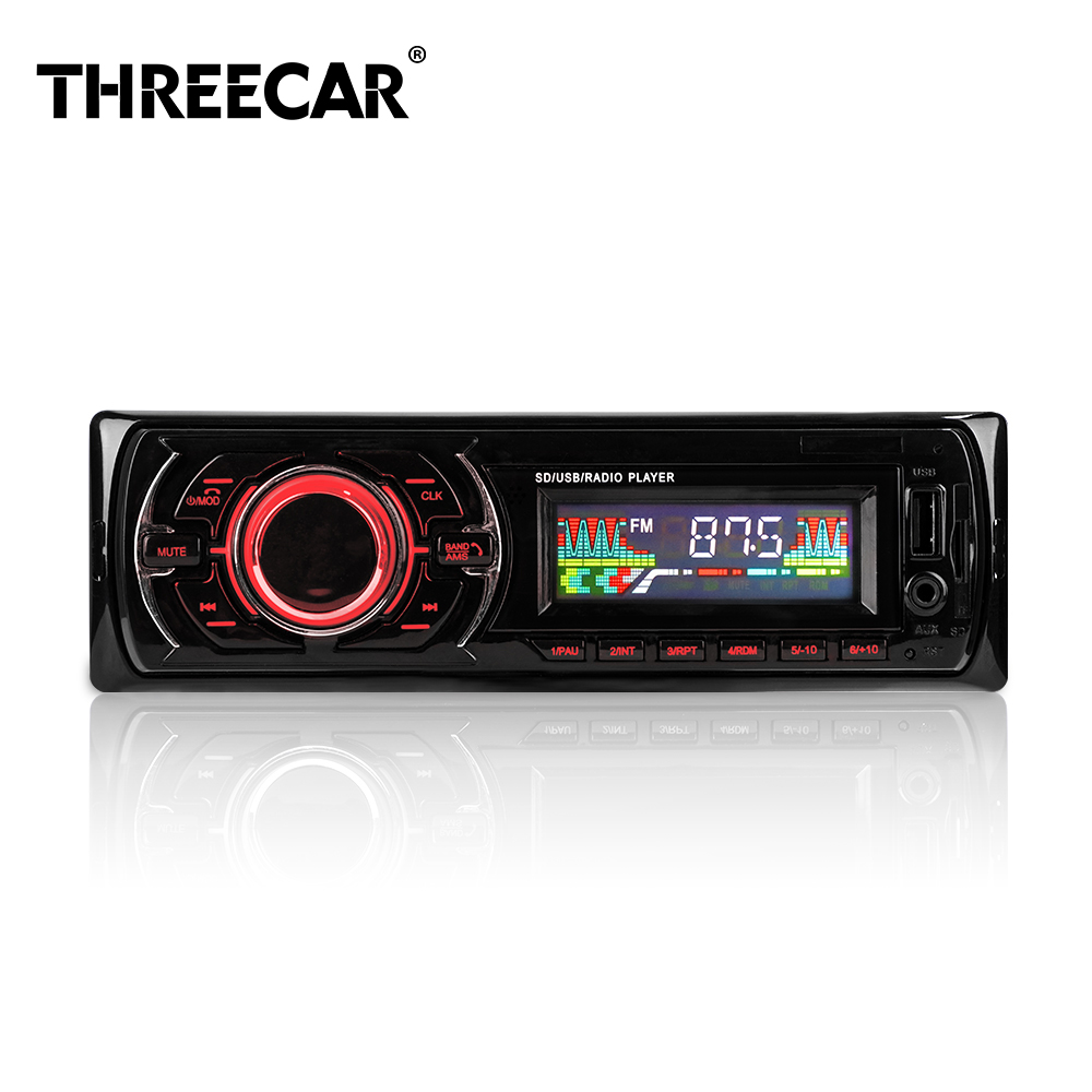 Mp3 Car Stereo With FM Car Mp3 Player Plug-In Card 12V MP3 Player Handfree 1 DIN Autoradio USB/AUX Audio Music Player Car Radios free shipping tecsun mp 300 fm dsp clock radio usb mp3 player high sensitivity stereo radios ats retail package
