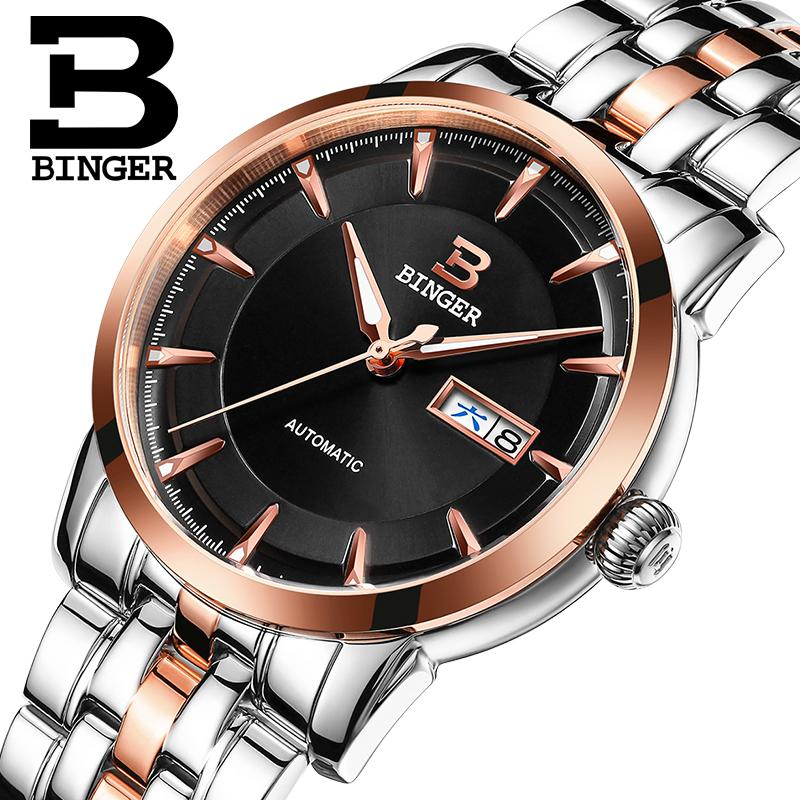Wrist Reloj Hombre Men Watches Stainless Steel Sapphire Switzerland Men Watch Automatic Mechanical Binger Luxury Brand B-5067M switzerland mechanical men watches binger luxury brand skeleton wrist waterproof watch men sapphire male reloj hombre b1175g 3