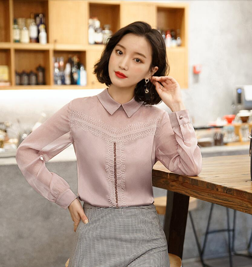 2019 nouvelle dentelle Blouse en mousseline de soie chemise femme col claudine chemise à manches longues haut dames Blouse hauts