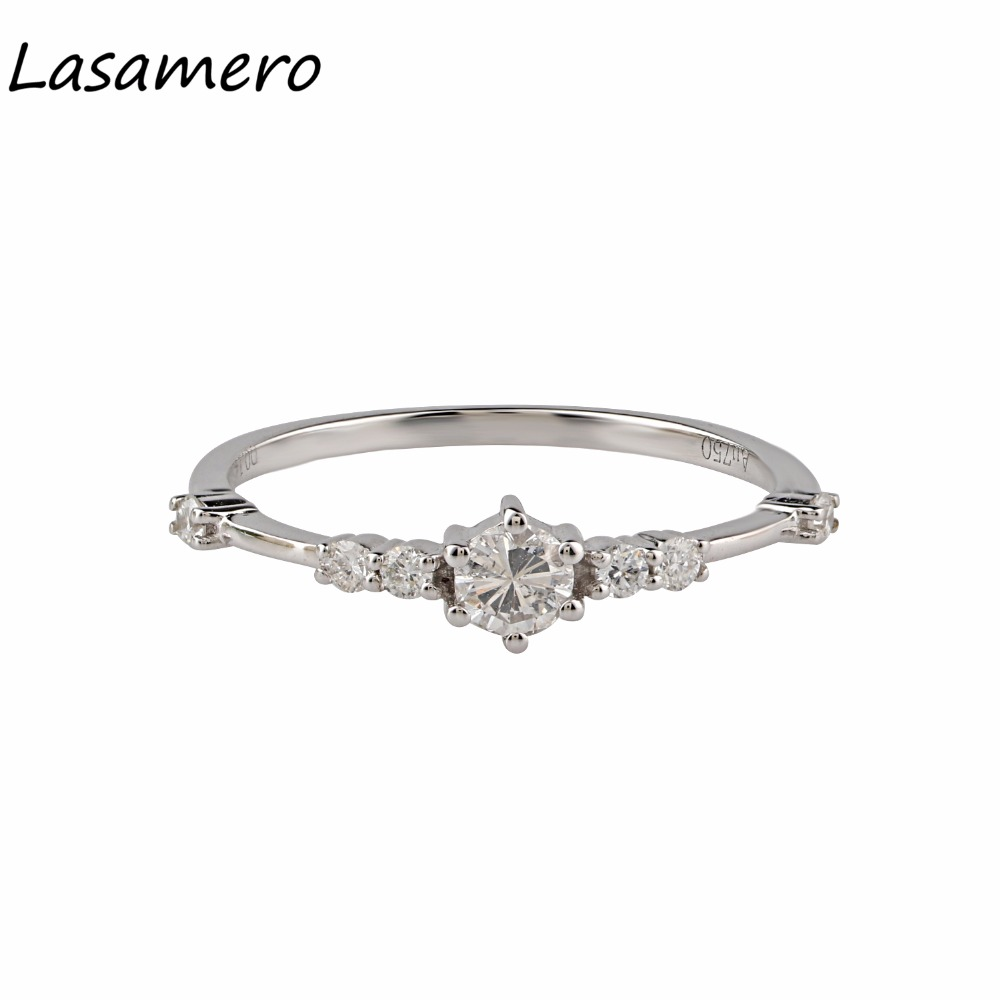 LASAMERO 0.15CT Round Shape Natural Diamond Accents Art Deco Vintage Style 18k White Gold Engagement Wedding Ring For Women noble simple style round flower shape cuff ring for women