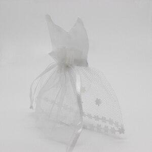 Image 3 - Bolsa de caramelos de Organza con cordón, 50 x esmoquin y 50 x vestido, novia, novio, favores de boda, bolsa de regalo para fiestas WB06, 100 piezas
