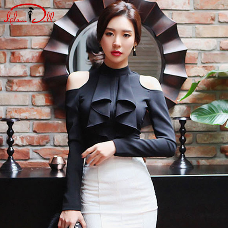 2018 Autumn Sexy Women Black Cloth Top Hollow Out Off Shoulder Full Sleeve Office Work Chiffon Blouse ...