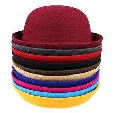 2016 Vintage Women Lady Cute Trendy Wool Felt Bowler Derby Fedora Hat Cap Spring Hats