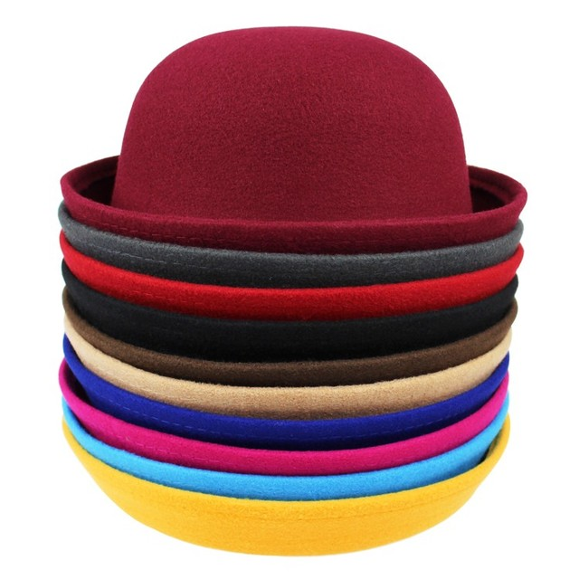 6655e18843a 2016 Vintage Women Lady Cute Trendy Wool Felt Bowler Derby Fedora Hat Cap  Spring Hats Caps 9 Colors In Stock 20