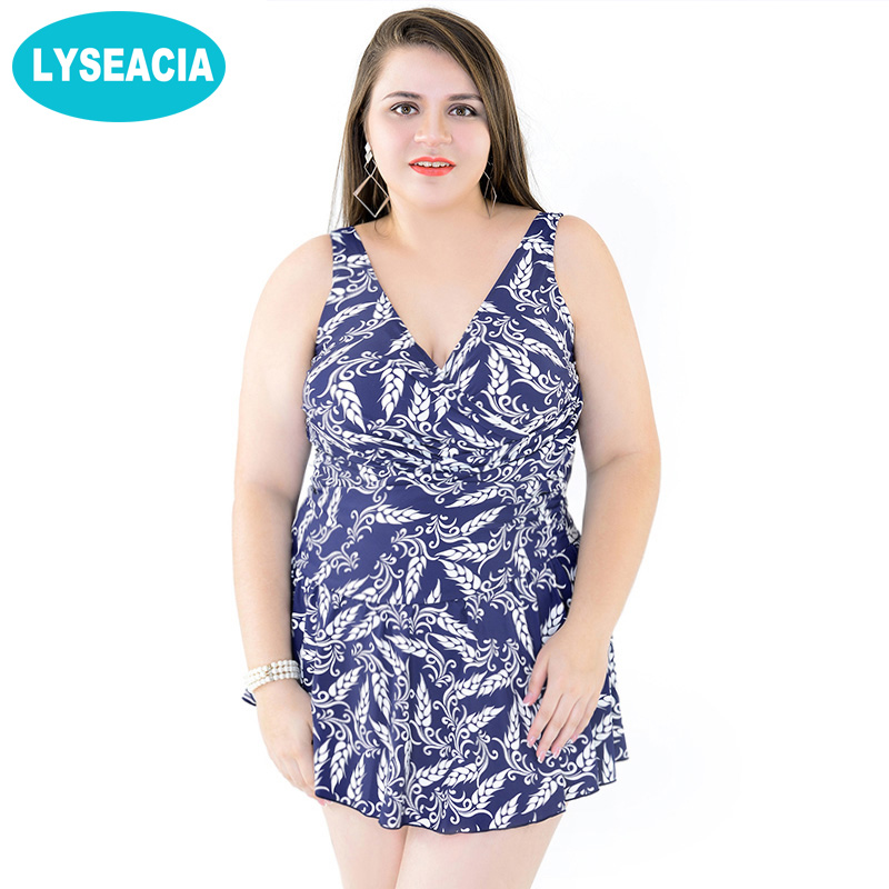 LYSEACIA Big Women One Piece Swimsuits of Large sizes Beach Skirt Swim Dress Plus Size Swimwear for Women's Swimming Suit 56-62 extra large size or more beach tropical swimsuits one pieces swimwear women 2017 monokini brand