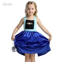 Titivate Cartoon Fairytale Girl Princess Elsa Anna Costume Apron Children Halloween Party Cosplay Fancy Dress Uniform