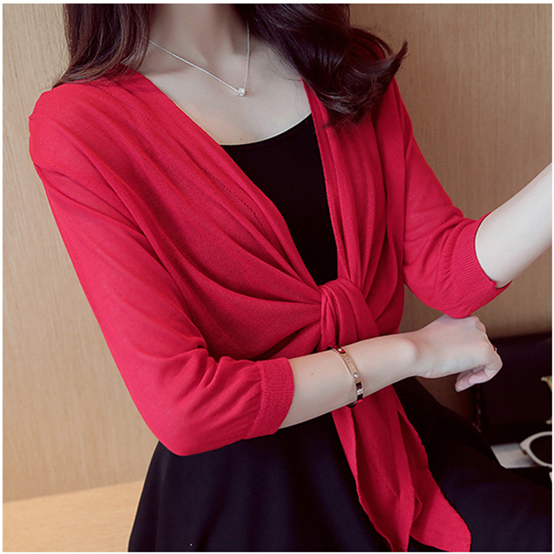 Makuluya Sweet Knitted Women Solid Color <font><b>Sweater</b></font> Thin Outerwear Short <font><b>Sweater</b></font> Lady <font><b>3/4</b></font> <font><b>Sleeve</b></font> Cardigan coats Hem Tie shawl QW image