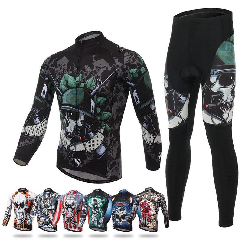 PLUSLAND Skeleton Winter Thermal Cycling Jersey Men Long Sleeve Bike Clothing Bicycle Jerseys and Pants Set MTB Ropa Ciclismo
