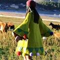 Mx138 nueva llegada 2016 otoño invierno vintage flare manga amarillo mosaico verde lindo puzzy bola floja larga de las mujeres abrigo de lana