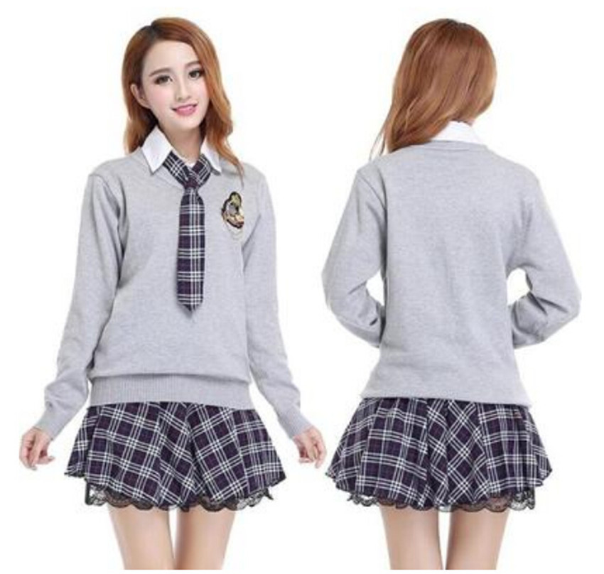 cd0b8f0f7 College School Uniform Sailor Uniform Set Japan Korea Long Sleeve Shirt  Plaid Skirt With Sweater Suit Girls School Uniform