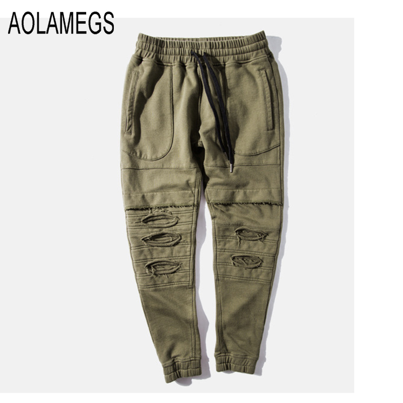 b4bea1c84abc8 Aolamegs Mens Jogger Pants Destroyed Ripped Hole Design Military Style  Sweatpants Fashion Casual Hip Hop Men Rock Pants Trousers-in Skinny Pants  from Men s ...