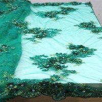 HFX Роскошные нигерийские Ткани кружева высокого качества зеленые кружева 3d аппликация Свадебное платье Чистая кружевная ткань со стразами