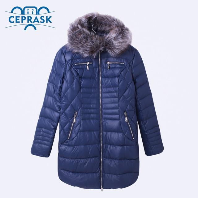 Ceprask 2016 de Alta Qualidade Pato Para Baixo Jaqueta de Inverno das mulheres Plus Size Longo feminino Casacos Moda Fur Parka Quente camperas 6xl