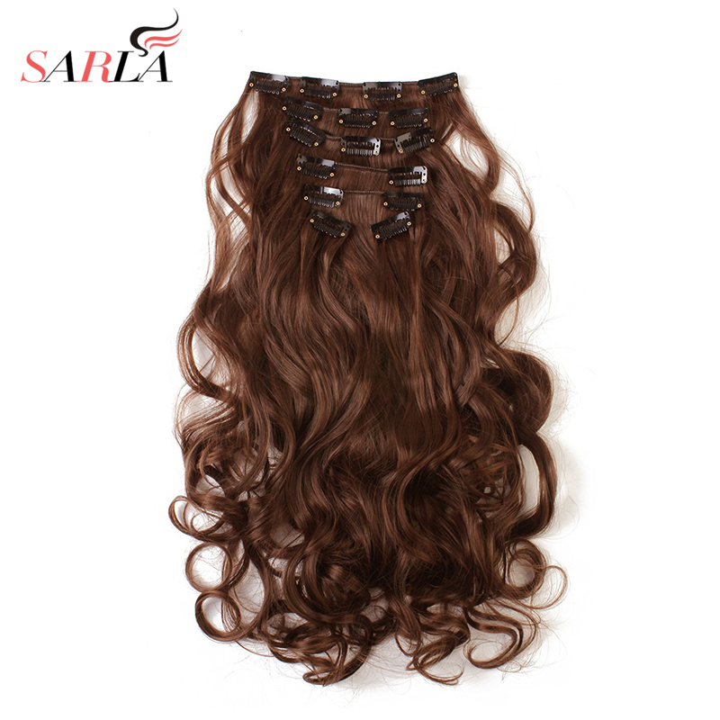 SARLA 20 Sets Lot Long Curly Clip In Hair Extensions Heat Resist Synthetic High Temperature Hair