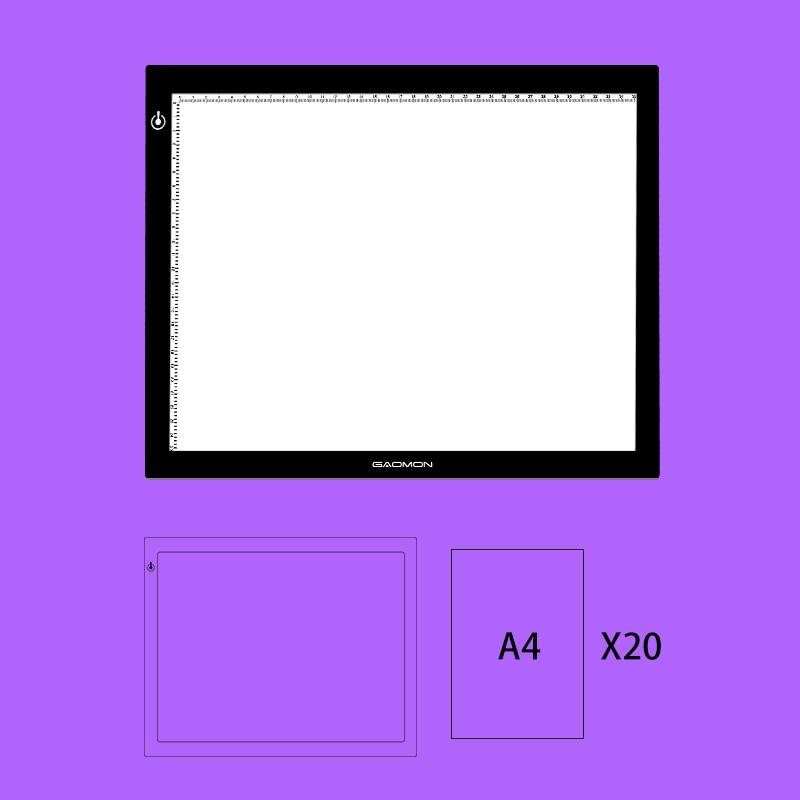 Affichage de pochoir de Table de Pad de lumière de dessin du conseil A4 de boîte à lumière de traçage de LED de GAOMON GB4 avec 20 feuilles de papier de traçage de taille A4