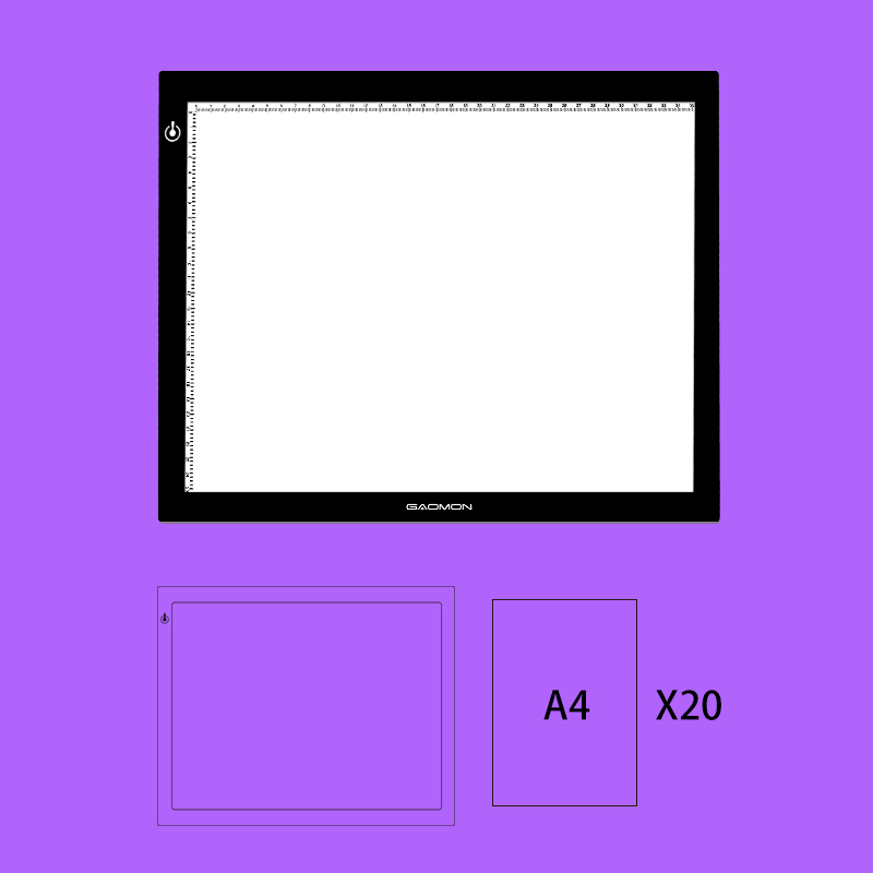 все цены на GAOMON GB4 LED Tracing Light Box Board Tattoo A4 Drawing Pad Table Stencil Display with 20 Sheets of A4 Size Tracing Paper онлайн
