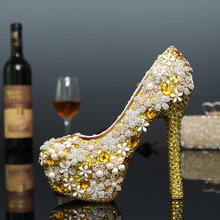 2016 New arrival gold pearl night party shoes bridal wedding shoes high-heeled real leather shoes single shoes women's pumps