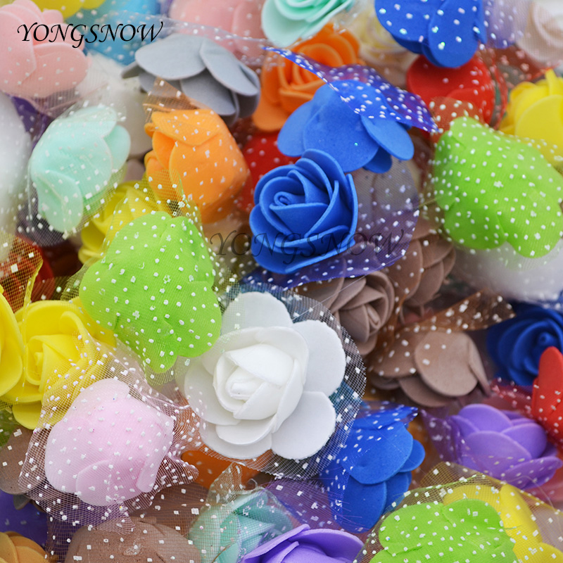 50Pcs/lot 3.5cm Mini PE Foam Roses Handmade DIY Wedding Decoration Multi-use Artificial Flower Heads Home Garden Supplies 7Z