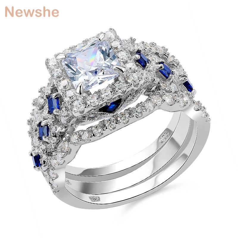 Newshe Wedding Ring Sets Classic Jewelry 3 Pcs 925 Sterling Silver 2 6ct White Blue Aaa Cz Engagement Rings For Women Jr4972 Ring Set Wedding Ring Setprincess Cut Aliexpress