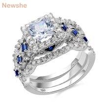 Newshe düğün yüzüğü setleri klasik takı 3 adet 925 ayar gümüş 2.6Ct beyaz mavi AAA CZ nişan yüzükler kadınlar için JR4972
