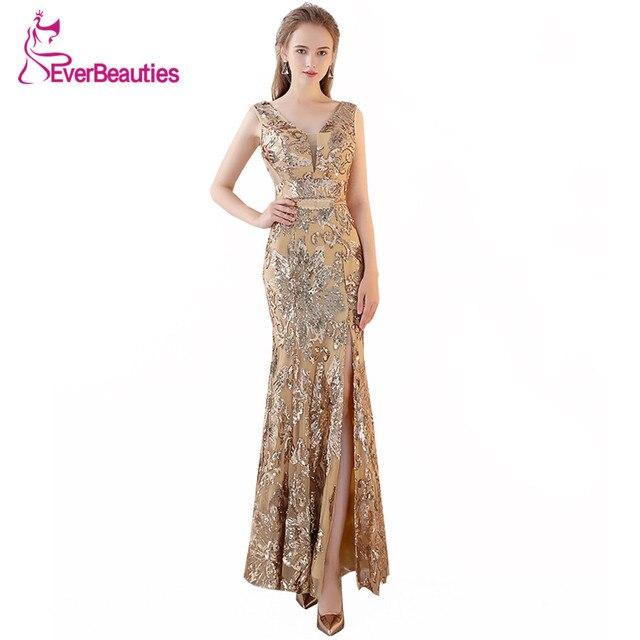 ab443360f Oro sirena vestidos De noche largo 2019 lentejuelas Prom fiesta Formal  vestido 2018 Elie Saab vestidos
