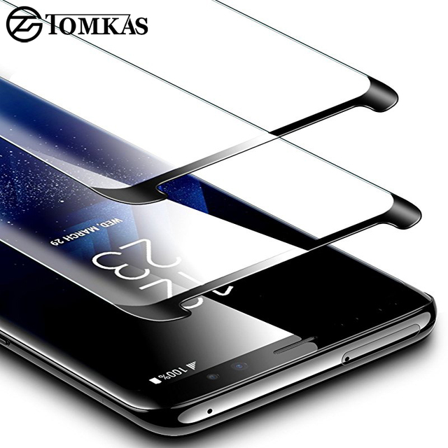 TOMKAS 5D Glass For Samsung S9 Screen Protector Tempered Glass 3D Protective For Samsung Galaxy S9 Plus S8 Plus Screen Protector