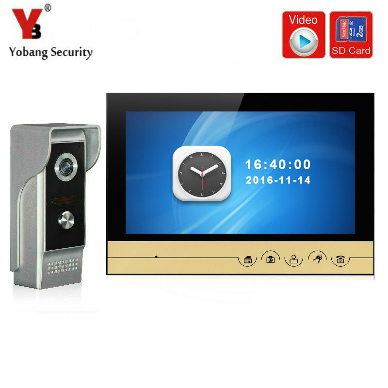 YobangSecurity 9 Inch Video Door phone Doorbell Home Security Camera Intercom KIT with Video Recording and Photo Taking Function jeruan 8 inch video door phone high definition mini camera metal panel with video recording and photo storage function
