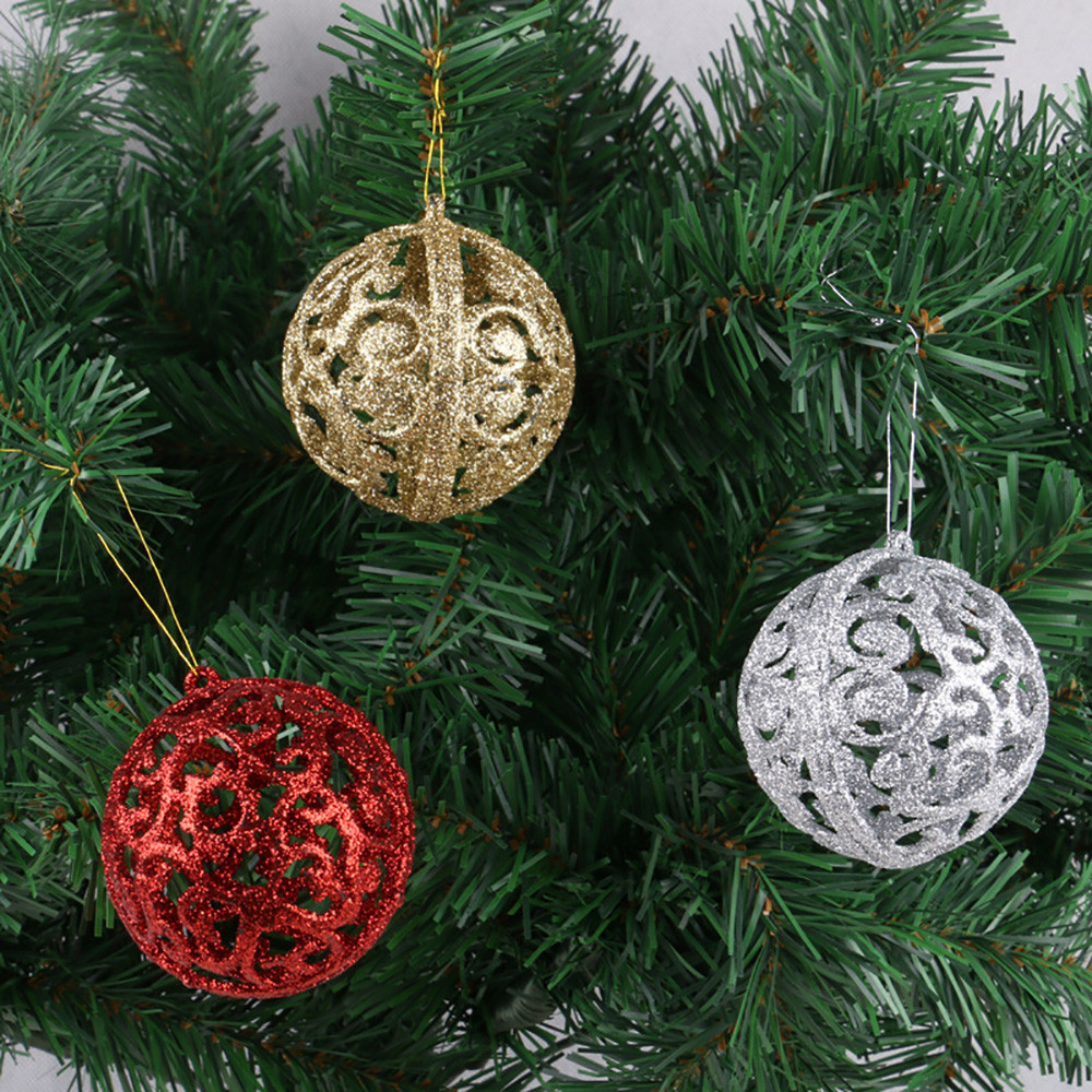 6pcs/lot 6cm Colorful Christmas Hanging Hollow Ball Baubles Round Bauble Ornament Xmas Tree Home Decor Christmas Tree Decoration