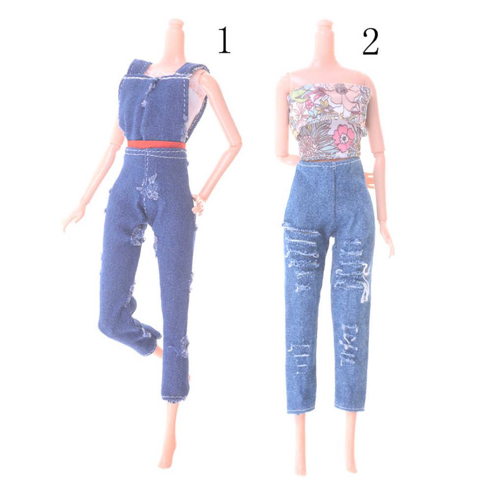 1 סט חולצות חולצות מכנסיים מכנסיים עבודת יד עבור ילדה בובת בגדי אופנה חולצה חור ג 'ינס רחוב סגנון צעצועי אבזרים