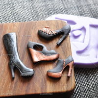 N151 Sugar Silicone Dry Mould Fpc High Leg Boots Platform Shoes High Heeled Shoes Cake Mold