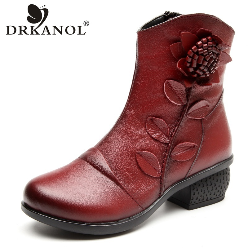 DRKANOL New Design Cowhide Genuine Leather Women Ankle Boots Retro Thick Heel Plush Warm Snow Boots Autumn Winter Women Boots new arrival superstar genuine leather chelsea boots women round toe solid thick heel runway model nude zipper mid calf boots l63